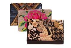 Geborduurde handtassen, drie handtassen met borduurwerk, koppelingen o Royalty-vrije Stock Foto