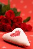 Geborduurde hart en rozen Royalty-vrije Stock Fotografie