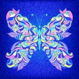 Geborduurde kleurrijke vlinder Stock Afbeelding