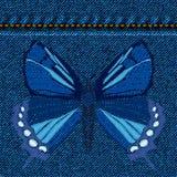 Geborduurde Vlinder over jeansachtergrond Isoleer op denimtextuur Vector illustratie vector illustratie