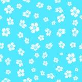 Geborduurde witte bloemen op blauwe achtergrond Royalty-vrije Stock Foto