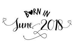 Geboren in Juni, 2018 ` - Kinderdagverblijf vectorillustratie vector illustratie