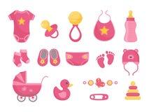 Geborene Vektorillustration des Babys eingestellt - verschiedene Kleinkindausrüstung für wenig Mädchen in der flachen Art lizenzfreie abbildung