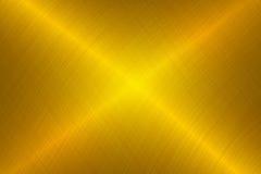 Geborstelde gouden metaalachtergrond Stock Fotografie