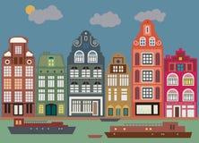 Gebouwen in Amsterdam royalty-vrije illustratie