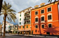 Gebouwen bij zonsondergang in Cinque Terre, Italië royalty-vrije stock afbeeldingen