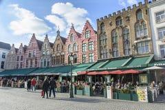 Gebouwen in Centraal Vierkant - Brugge Royalty-vrije Stock Foto's