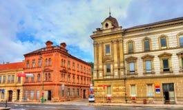 Gebouwen in de oude stad van Trebic, Tsjechische Republiek royalty-vrije stock foto's