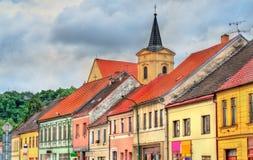 Gebouwen in de oude stad van Trebic, Tsjechische Republiek stock foto