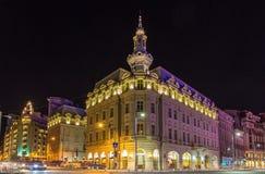 Gebouwen in de stadscentrum van Boekarest stock afbeeldingen