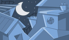 Gebouwen in de sterrige nacht Stock Afbeelding