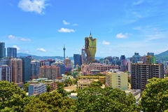 Gebouwen de van de binnenstad van Macao royalty-vrije stock foto's