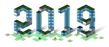 Gebouwen in de vorm van cijfers 2019 jaar 3d isometrische illustratie royalty-vrije illustratie