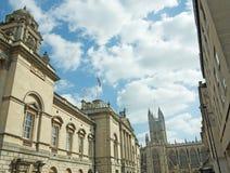 Gebouwen en abdij Stock Afbeeldingen