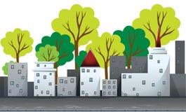 Gebouwen en bomen op de weg royalty-vrije illustratie