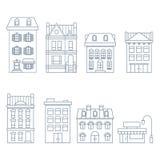 Gebouwen en huizen in Europese stijl - huis in de stad, en hotel royalty-vrije illustratie