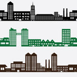 Gebouwen en huizenlandschapspatroon Royalty-vrije Stock Afbeeldingen