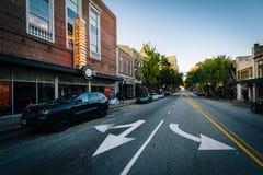 Gebouwen en Iepstraat in Greensboro van de binnenstad, Noord-Carolina royalty-vrije stock afbeeldingen