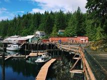 Gebouwen en jachthaven in Telegraafinham, Brits Colombia, Canada Stock Afbeelding