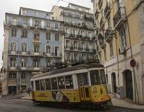 Gebouwen en trams Lissabon, Portugal Royalty-vrije Stock Afbeeldingen