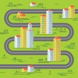 Gebouwen en weg - vectorillustratie als achtergrond in vlak stijlontwerp Gebouwen op groene achtergrond Royalty-vrije Stock Afbeeldingen