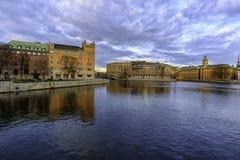 Gebouwen in gamle stan in Stockholm stock afbeeldingen