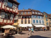 Gebouwen in het hart van middeleeuwse Colmar royalty-vrije stock afbeeldingen
