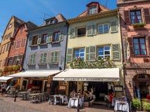 Gebouwen in het hart van middeleeuwse Colmar stock foto