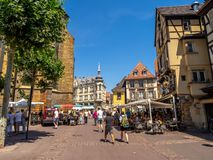 Gebouwen in het hart van middeleeuwse Colmar stock afbeelding