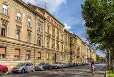 Gebouwen in het stadscentrum van Zagreb stock foto