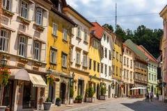 Gebouwen in historisch centrum van Ljubljana, Slovenië Royalty-vrije Stock Foto's