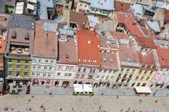 Gebouwen in Marktvierkant, Lviv, de Oekraïne stock afbeelding