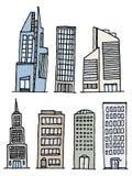Gebouwen Met de hand geschreven Reeks/Schetsmatige Architectuur stock illustratie