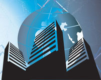gebouwen onder een bol Stock Afbeelding