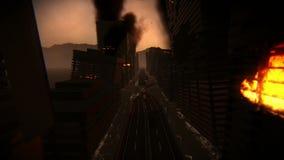 Gebouwen op brand in een vernietigde en overstroomde stad vector illustratie