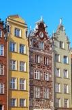 Gebouwen op de Lange straat van de Markt in Gdansk Stock Afbeeldingen