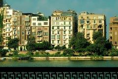 Gebouwen op de Nijl, Kaïro, Egypte royalty-vrije stock afbeelding