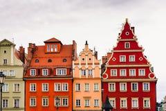 Gebouwen op het middeleeuwse Marktvierkant in Wroclaw, Polen royalty-vrije stock foto's
