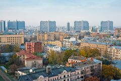 Gebouwen op Moskou Nieuwe Arbat Royalty-vrije Stock Fotografie