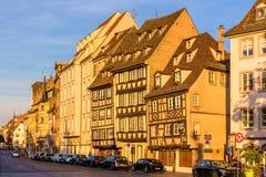 Gebouwen op Quai des Bateliers in Straatsburg Royalty-vrije Stock Foto's