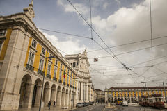 Gebouwen in Praça do Comércio, Lissabon, Portugal Royalty-vrije Stock Afbeelding