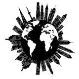 Gebouwen rond de Wereld royalty-vrije illustratie