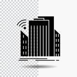 Gebouwen, stad, sensor, slim, stedelijk Glyph-Pictogram op Transparante Achtergrond Zwart pictogram stock illustratie