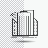 Gebouwen, stad, sensor, slim, stedelijk Lijnpictogram op Transparante Achtergrond Zwarte pictogram vectorillustratie royalty-vrije illustratie