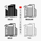 Gebouwen, stad, sensor, slim, stedelijk Pictogram in Dunne, Regelmatige, Gewaagde Lijn en Glyph-Stijl Vector illustratie vector illustratie
