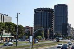 Gebouwen van de Caixa-Bank in Barcelona op Diagonale Weg Stock Fotografie