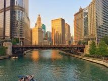 Gebouwen van de stad van Chicago Stock Afbeeldingen