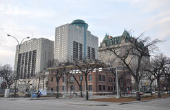 Gebouwen van de stad in in de Stad van Winnipeg Stock Afbeelding