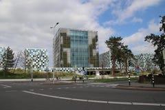 Gebouwen van Internationale Strafrechter ICC in Den Haag in Nederland stock afbeeldingen