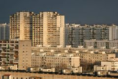 Gebouwen van woondistrict in Moskou Royalty-vrije Stock Afbeeldingen